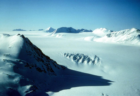 This November 2010 image of the Harding Ice Field on Alaskas Kenai Peninsula provides an idea of what much of the planet might have looked like during a 'snowball Earth event 600 million years ago.