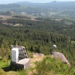 The GPS component of an advanced seismometer sits atop Radar Ridge outside Astoria, Ore.  The installation is part of the Pacific Northwest Seismic Network.