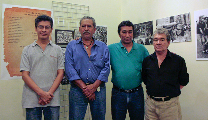 Rolando Gonzalez, Oscar Garza, Carlos Santos and Ramon Arita visit the Museo de Santa Tecla, once a Salvadoran prison where they were held as political dissidents.