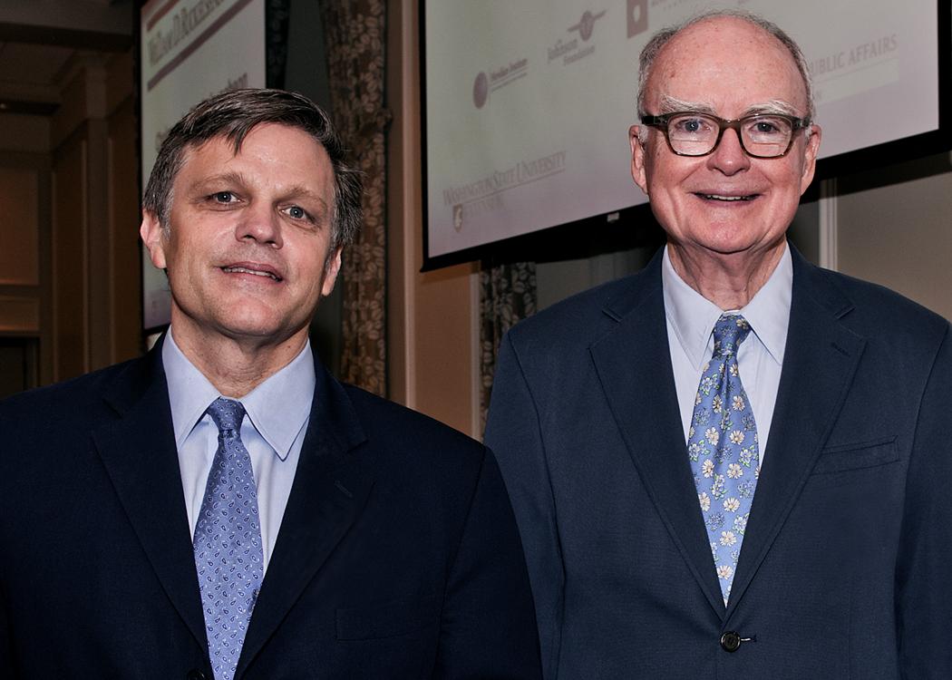 Douglas Brinkley, left, and William Ruckelshaus