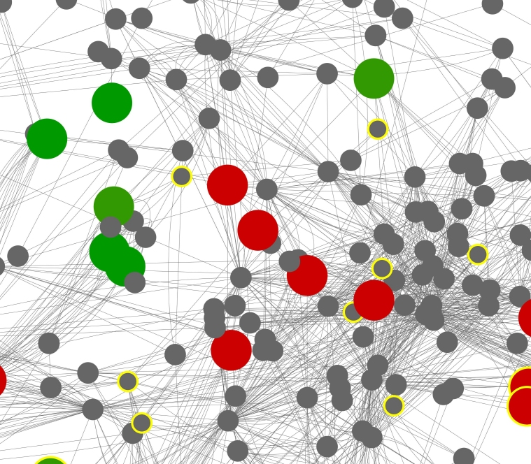 A zoom in on a section of the image shown above of a the gut microbiome community-level network