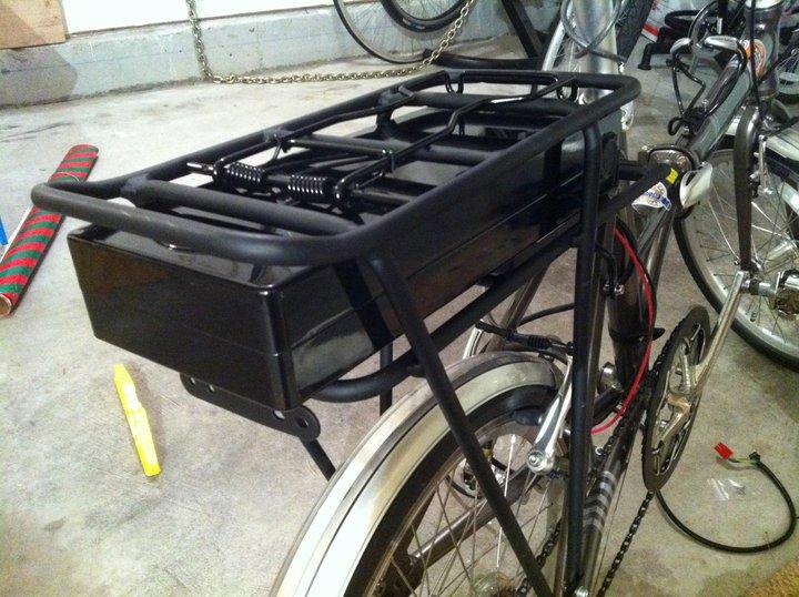 The battery that powers Bob Edmistons electric bike.
