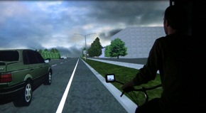 OSU's bicycle simulator is used to study interactions between drivers and cyclists.