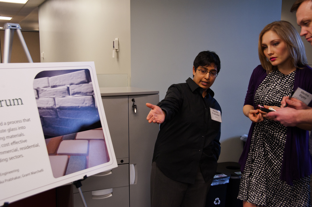Renuka Prahabakar talks about her firm Envitrum – one of the first startups that will take advantage of the business incubator space – with the Center for Commercializations Merina Bigley and Xconmy reporter Curt Woodward.