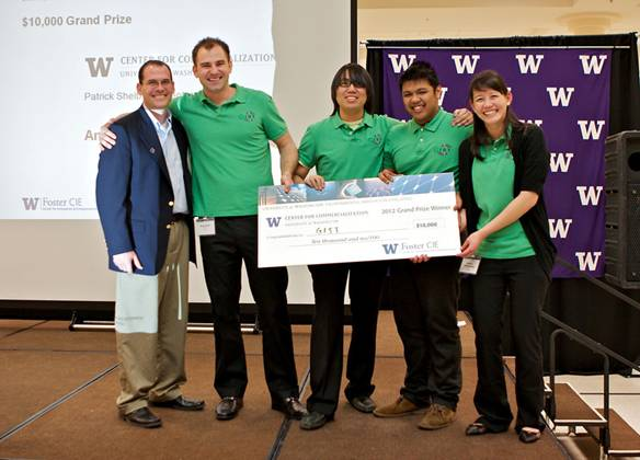 Members of the team Green Innovative Safety Technologies (GIST), won first prize and $10,000 for developing a recycled alternative to concrete highway jersey barriers.