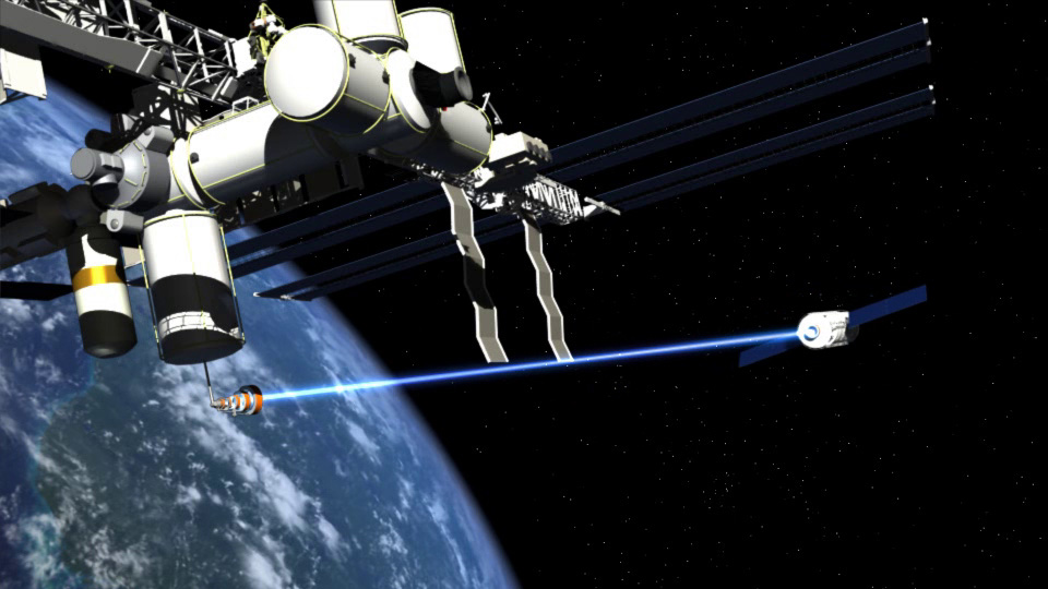 In this artists conception, a magnetized beam of ionized plasma is applied to a spacecraft headed on an interplanetary journey. The same technology could be used to remove dead satellites and other debris from Earth orbit.
