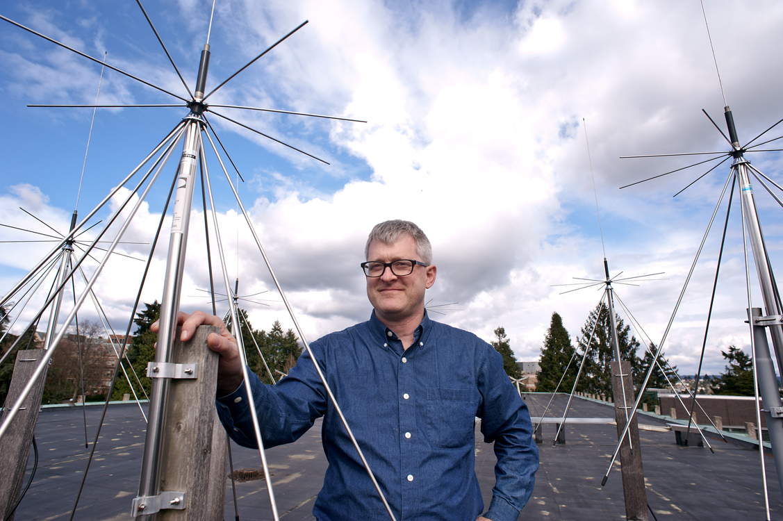 John Sahr and a former graduate student designed the radars, that work by eavesdropping on rock 'n roll radio broadcasts.