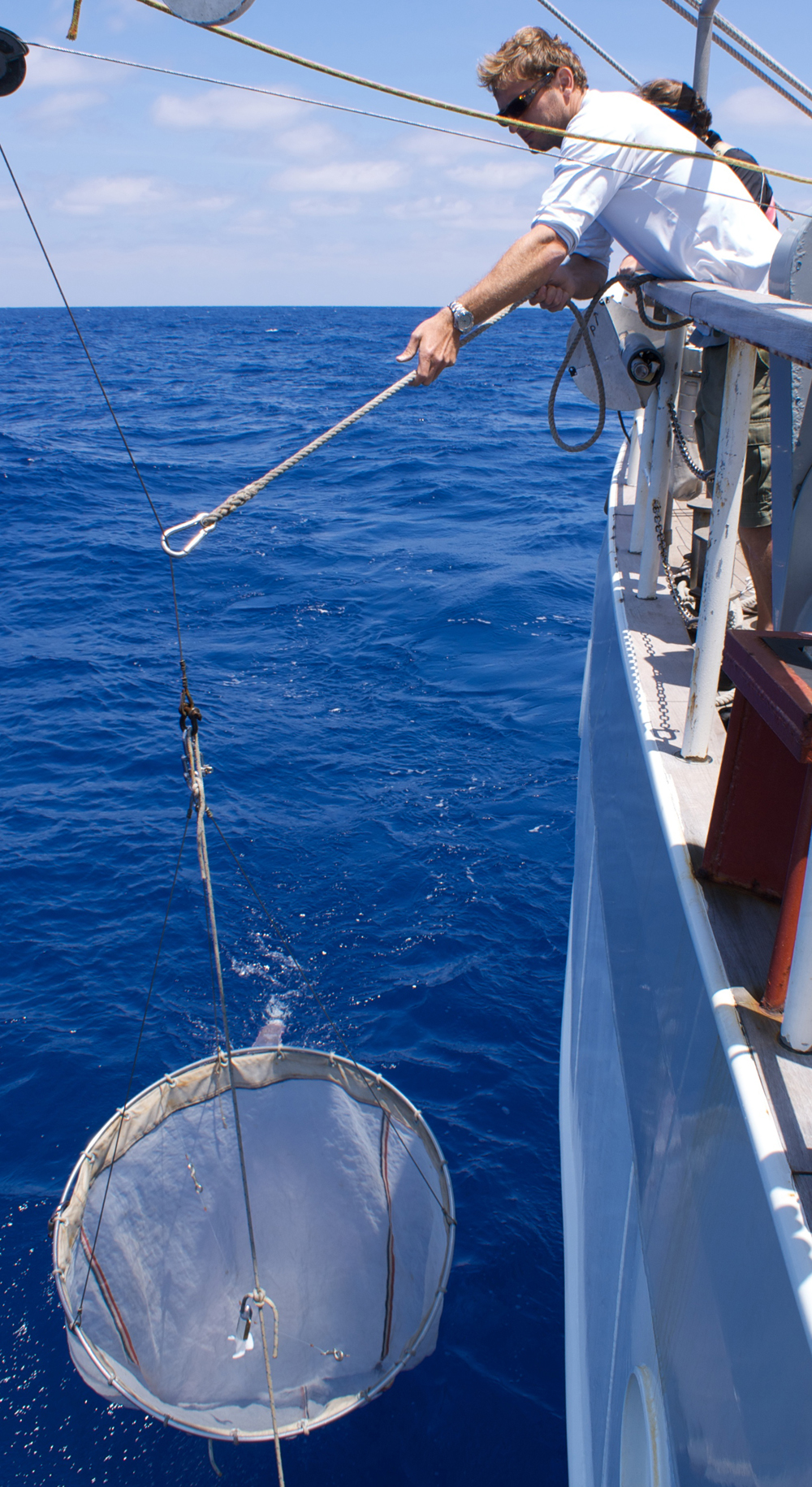 Giora Proskurowski deploys a net to collect samples that help estimate how much plastic debris is in the ocean.