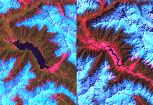 The Landsat satellite image at left shows a huge lake on the Tsangpo River behind a dam created by a landslide (in red, lower right of the lake) in early 2000. The image at right shows the river following a catastrophic breach of the dam in June 2000.
