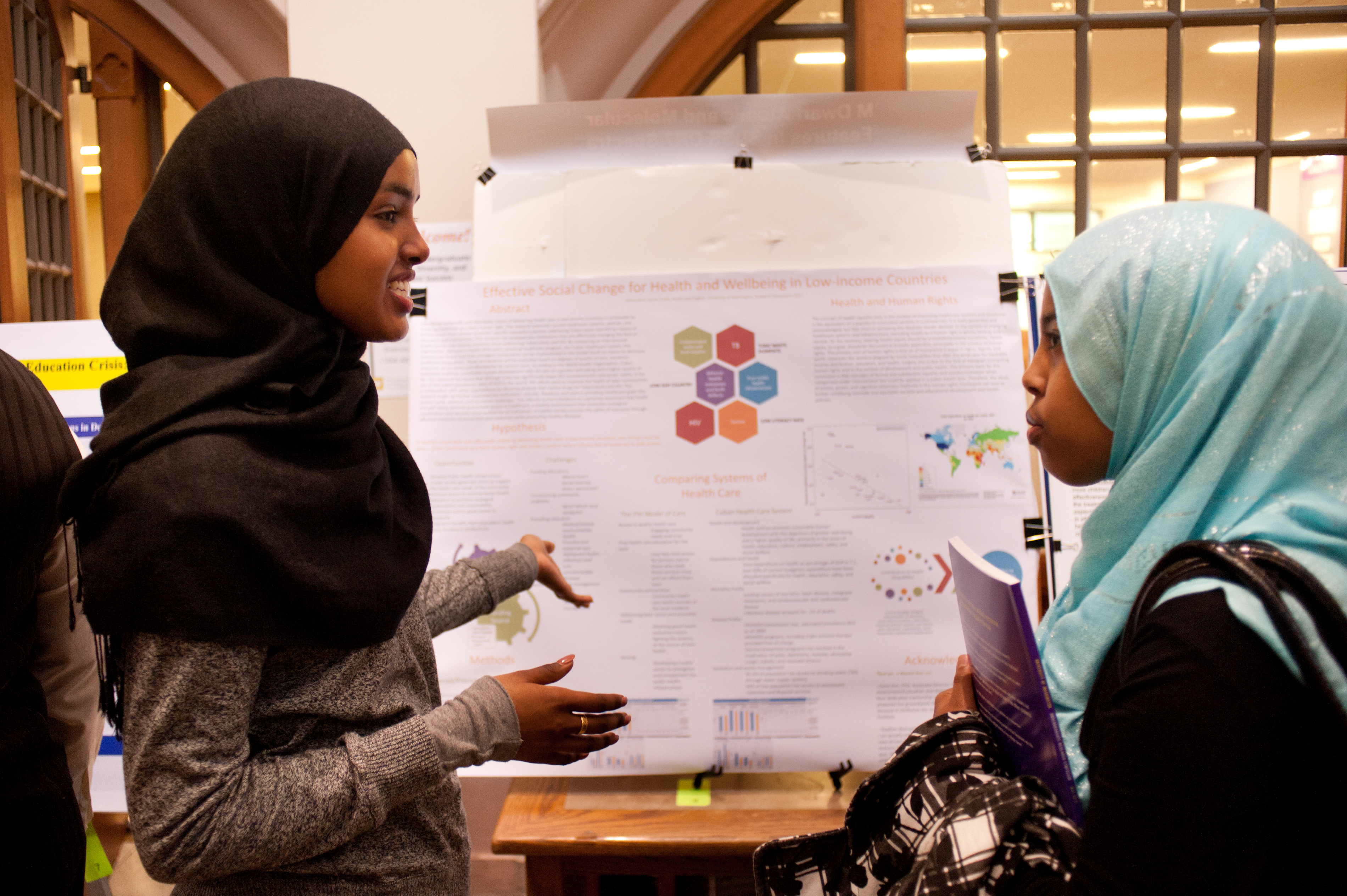 A student at the 2011 symposium presents 'Effective Social Change for Health and Well-being in Low-Income Countries.'