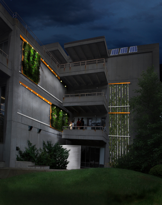 A rendering of the Biodiversity Green Wall as seen at night.