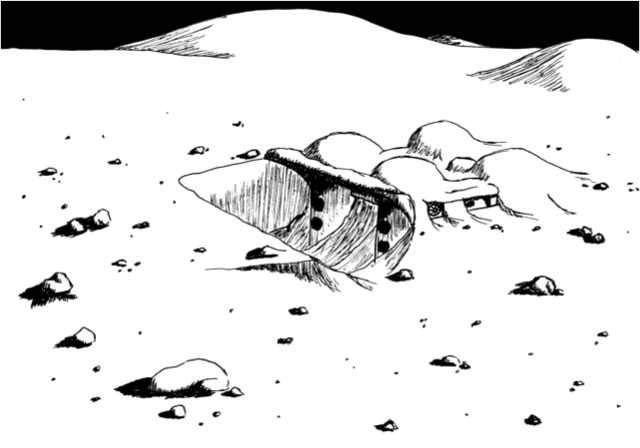 A sketch of the lunar mining outpost. The inflatable structure is partially buried to protect its 30 inhabitants from radiation.