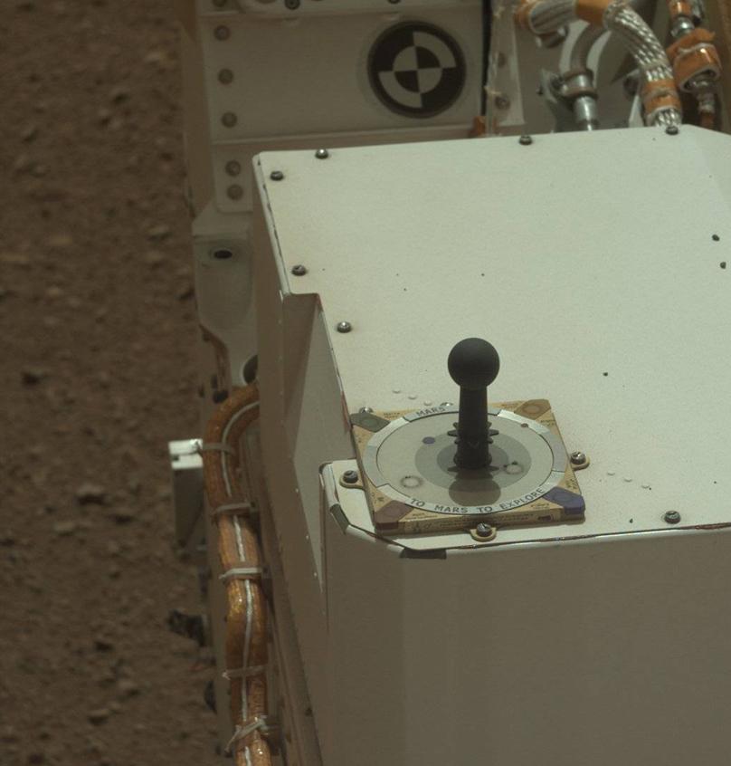 A sundial aboard the NASA Mars rover Curiosity.