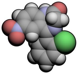 Space-fill model of clonazepam molecule