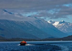 Research boat, scientists on Lake Iliamna, Alaska