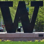 A large 'W' is at the north entrance to the UW campus.