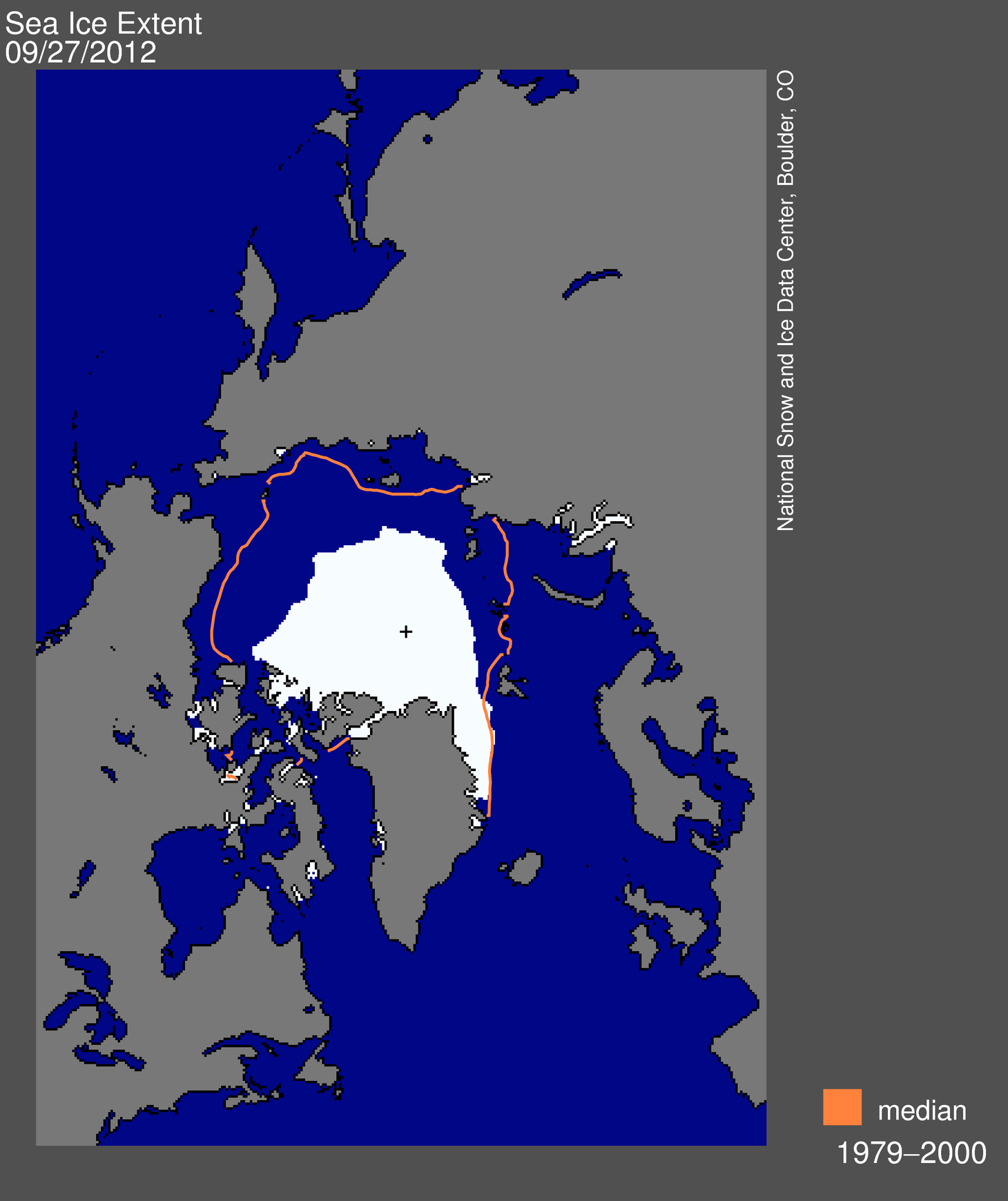 the image shows the average area that Arctic sea ice covered from 1979 through 2000 and the much smaller area the sea ice covers now.