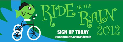 Logo for Ride in the Rain includes a fish riding a bicycle