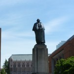 statue of George Washington on UW campus