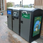 Bins for recycling and compost on Red Square