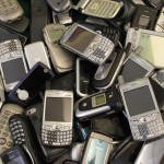 Pile of no longer needed cell phones for recycling