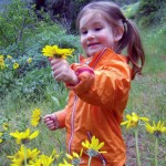 A child picks and admires a flower during outdoor play.
