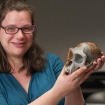 Rebecca Price holds the skull of a chimpanzee.