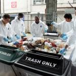 students sort trash