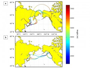 Maps of Asia and North America show paths aerosols took across the Pacific