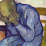 """A sorrowing old man in the painting """"At Eternity's Gate"""" by Vincent van Gogh."""