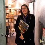UW librarian Stephanie Lamson stands in doorway
