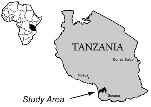 Map of Tanzania with study area pointed out in southwest