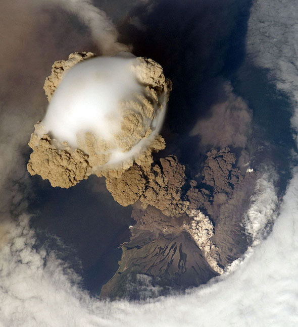 The 2009 eruption of Sarychev Peak in the Kuril Islands.