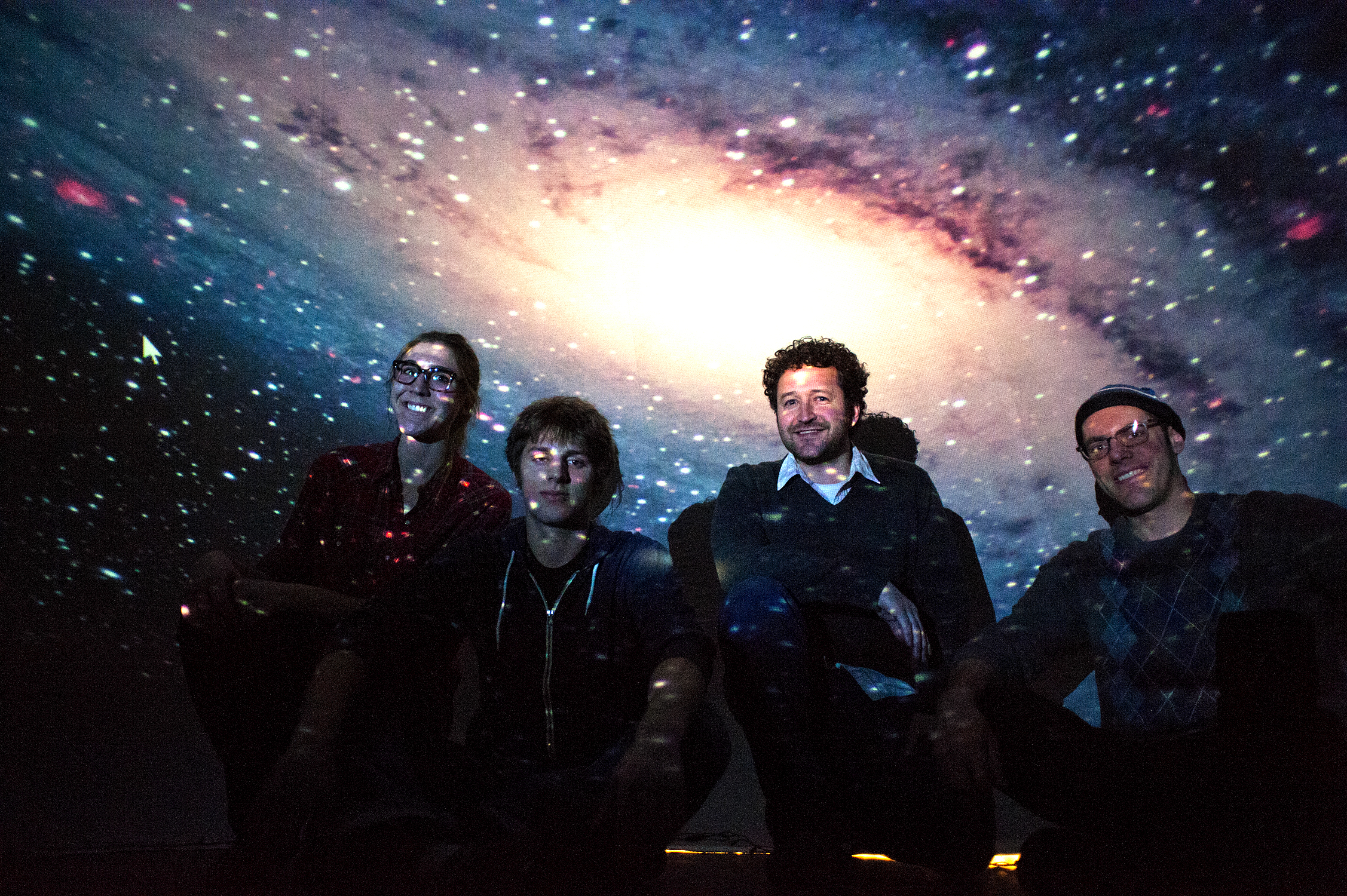The team that created the astronomy department's traveling planetarium. From left they are doctoral student Nell Byler, undergraduate Justin Gailey, doctoral student Phil Rosenfeld and lecturer Oliver Fraser.