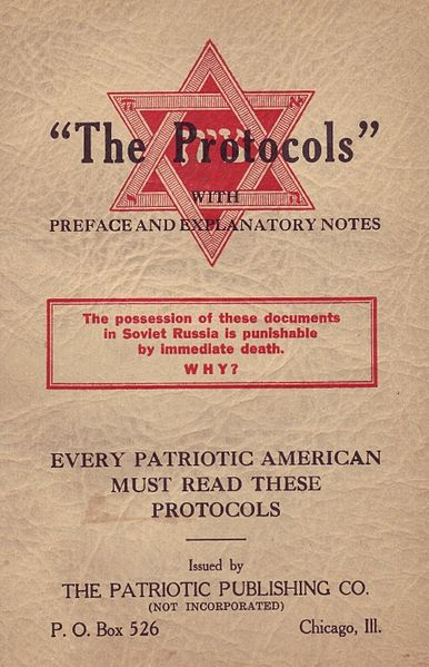 "cover of the fraudulent ""The Protocols of the Elders of Zion"""