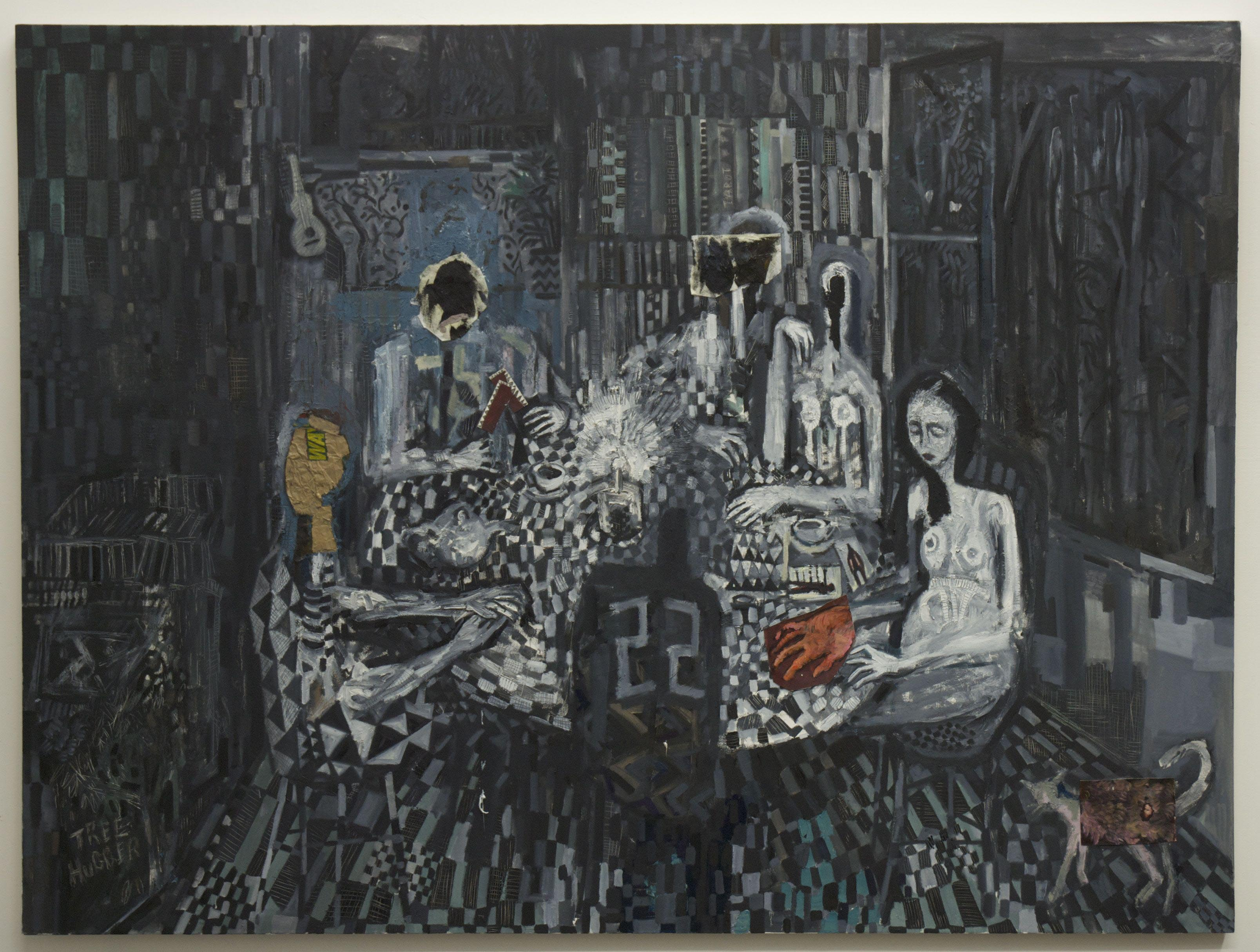 """""""Tarot."""" an oil on canvas by Abraham Murley, part of the MFA student exhibit now at the Jacob Lawrence Gallery."""
