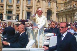 Pope Benedict XVI in St. Peter's Square, Rome, in 2007.
