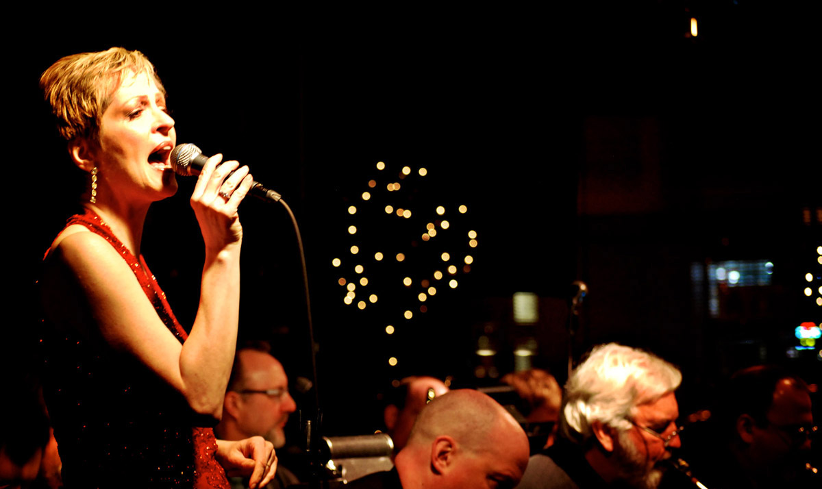 UW staffer Bethany Staelens sings with the Smith-Staelens Big Band the first first Wednesday of the month at Tula's, a Seattle jazz club.