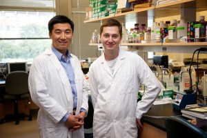 Xiaohu Gao, left, and Pavel Zrazhevskiy in a UW bioengineering lab.