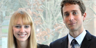 Kelly Paradis, left, and Jacob Dishion  -- students helped win court battle for School of Law Innocence Project Northwest