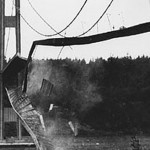 The Tacoma Narrows Bridge collapse in 1940.