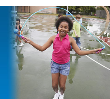 An image of a child jumping rope used in an NIH campaign to encourage American children and families to be more active.