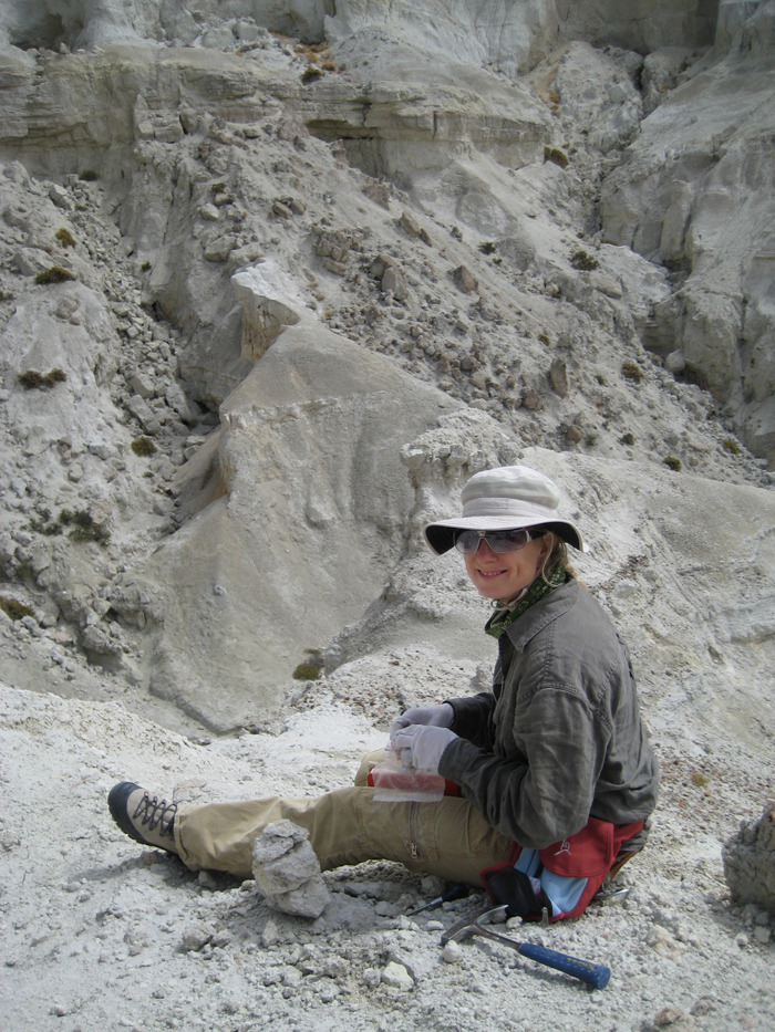 Reseracher sits on ash formation collecting samples in bag