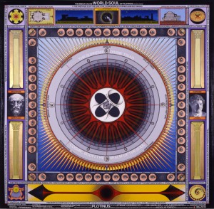 """""""The World Soul of Plotinus,"""" by Paul Laffoley, 2001. Oil, acrylic, and vinyl lettering on canvas."""