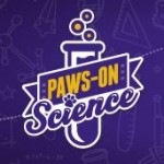 Purple and gold logo of test tube and words Paws-On Science
