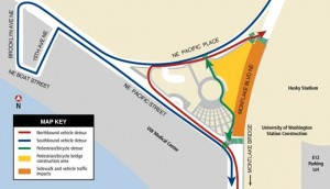 Map of traffic and pedestrian detours for closure April 2013 near Husky Stadium