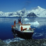 A research ship off the Rothera station on the Antarctic Peninsula.