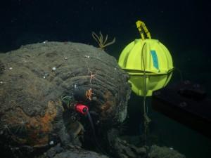 photo of seismometer underwater