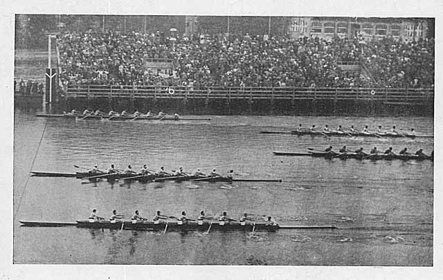 Photo shows UW crew winning the 1936 eight-oar Olympic gold medal.