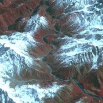 This composite images shows the Yarlung-Tsangpo River in Tibet. The image and data were collected by a NASA spacecraft.